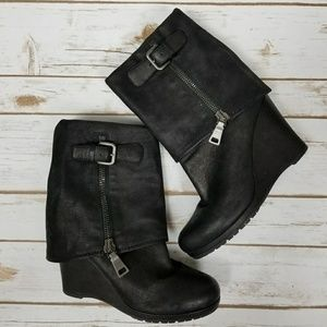 🔥Prada🔥black fold over ankle wedge boots